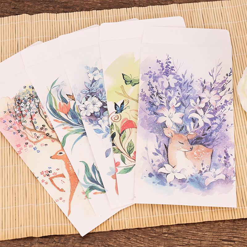 中国风创意可爱卡通美鹿中式5号信封 卡片明信片情书收纳彩色竖款