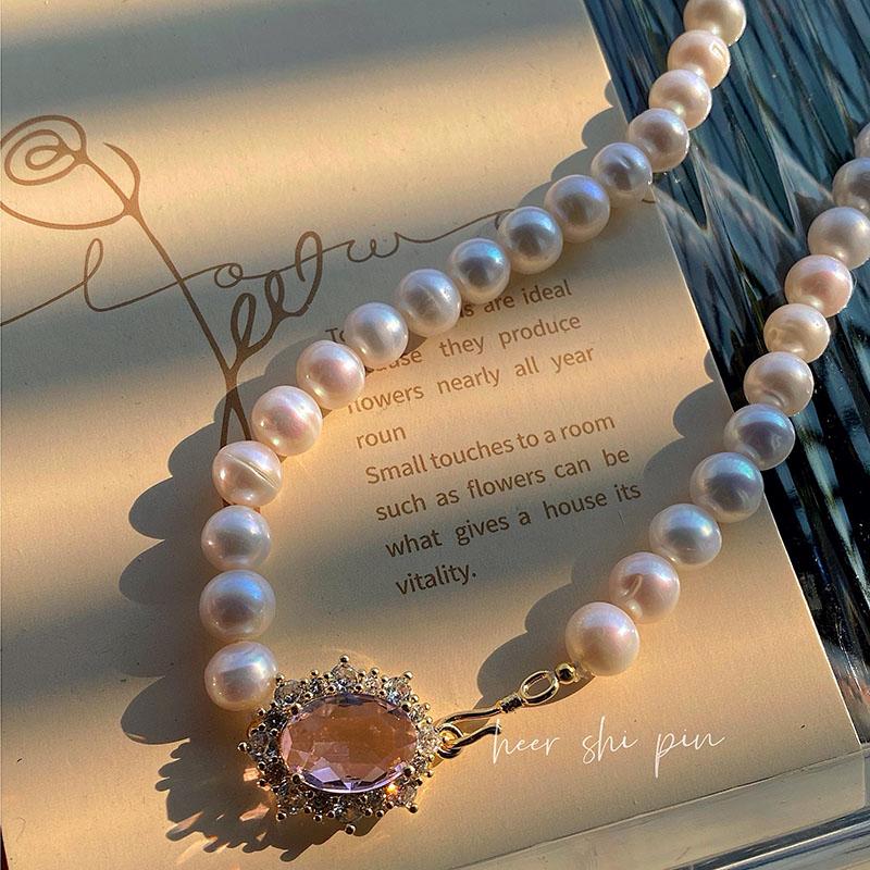 时尚百搭Heer原创设计粉晶宝石首饰项链个性优雅气质温和大气饰品