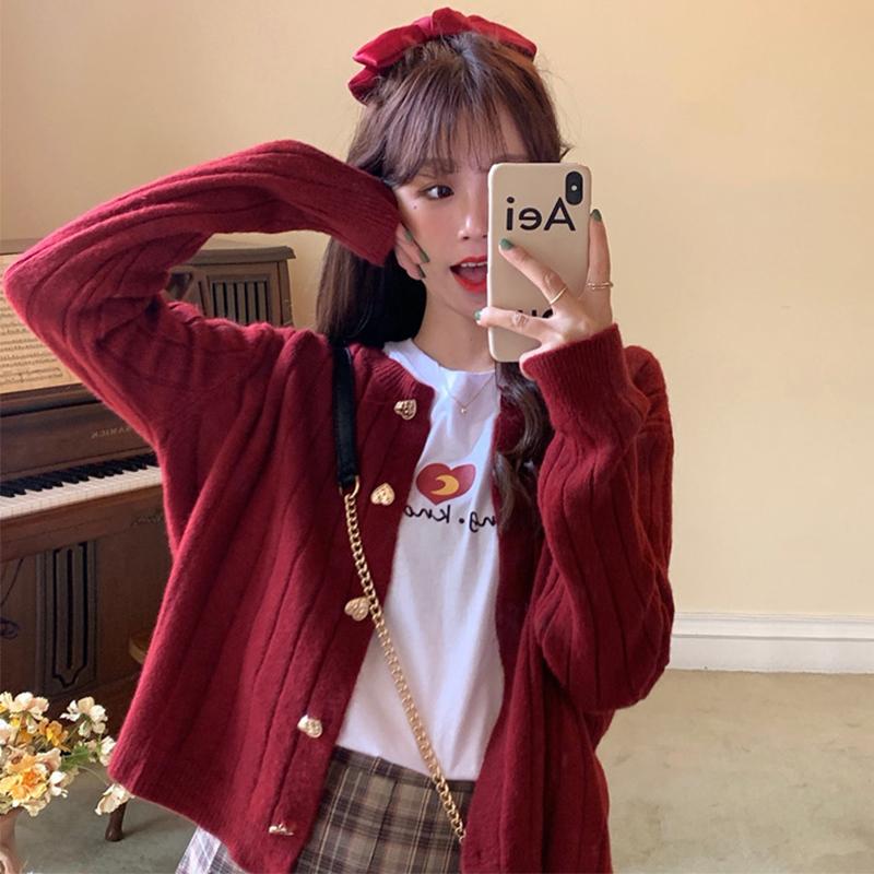红色桃心小款针织开衫短款2021春秋季韩版宽松显瘦坑条毛衣薄外套