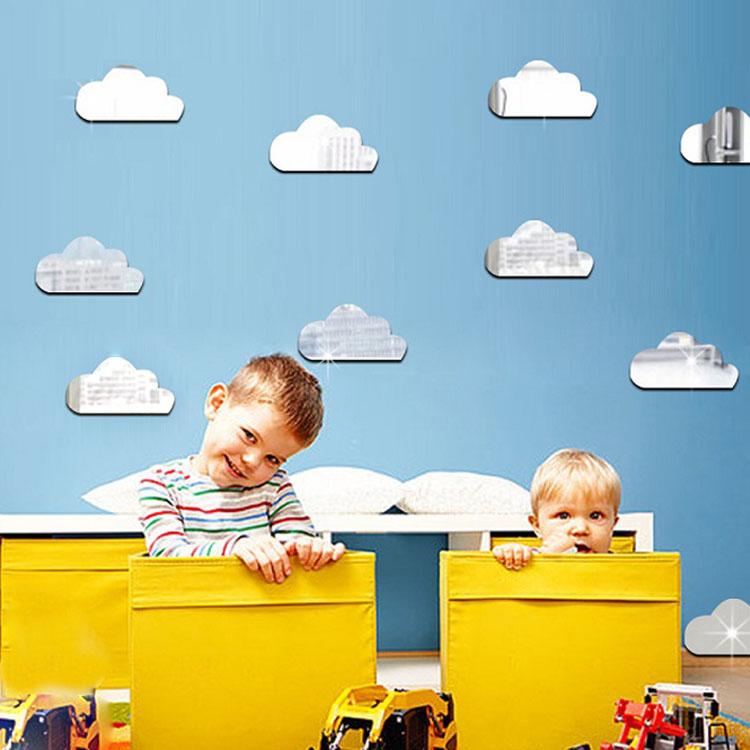 亚克力云朵图案儿童房卧室装饰墙贴镜面卡通3d立体防水可移除宿舍