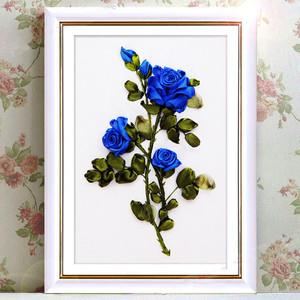 丝带绣挂画花卉蓝玫瑰新款3D立体印花十字绣客厅卧室婚庆DIY套件