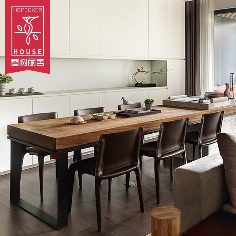 简约餐桌椅组合6人美式铁艺餐桌长餐台吃饭桌工业风办公桌长方形