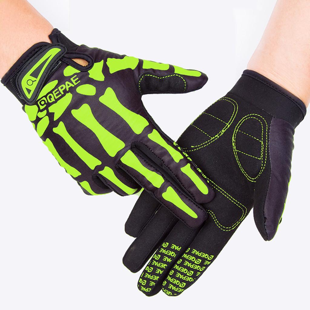 Qepae奇珀尔骑行长指手套运动健身防滑骷髅全指手套厂家7507