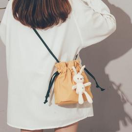 小包包女2020新款潮夏天小清新文艺帆布水桶包日系可爱仙女斜挎包图片