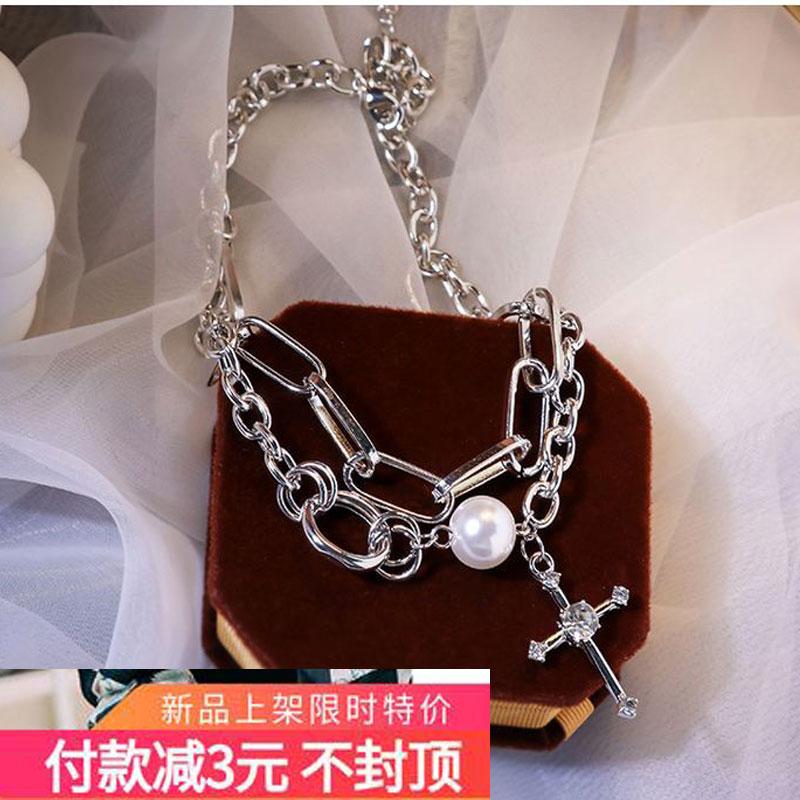 新款潮朋克风网红气质珍珠十字架嘻哈项链女锁骨链双层颈链粗链条
