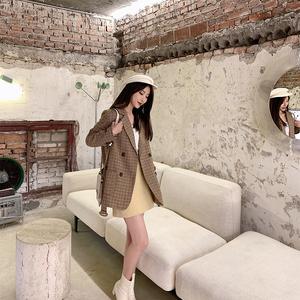 2021秋冬新款格子毛呢西装外套显瘦系带复古大衣淑女休闲韩版