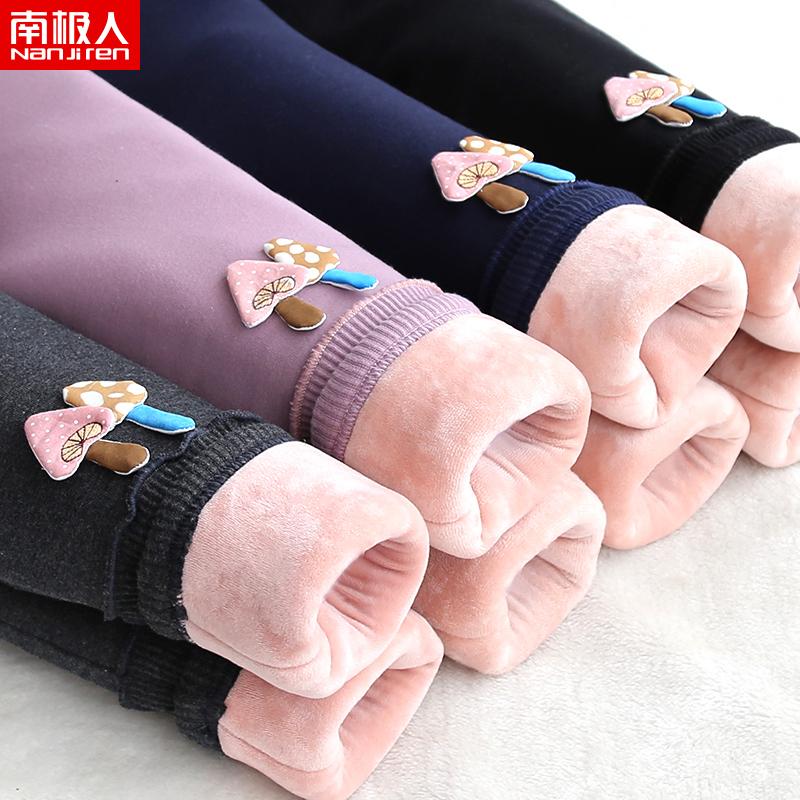 童装女童棉裤加绒加厚冬装长裤子