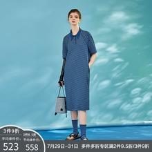 日着原创设计女装2021年夏季新款 纯棉薄款中长款短袖条纹连衣裙