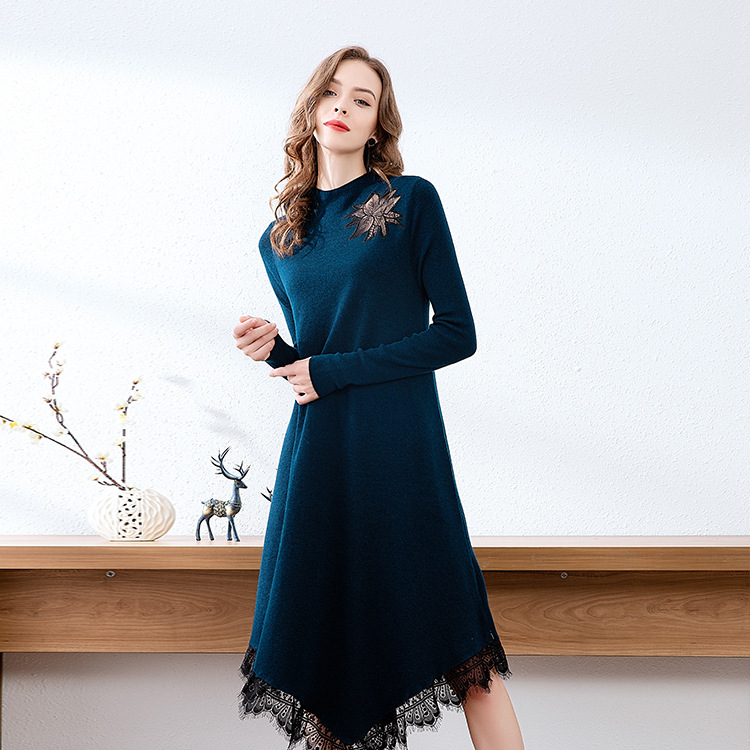 Brand sweater knitted dress 2019 autumn new fashion splicing hollow embroidery lace irregular skirt
