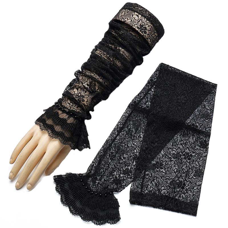 皮尔卡丹长款防晒手套女夏天开车冰丝手袖蕾丝薄护臂袖套弹力薄款