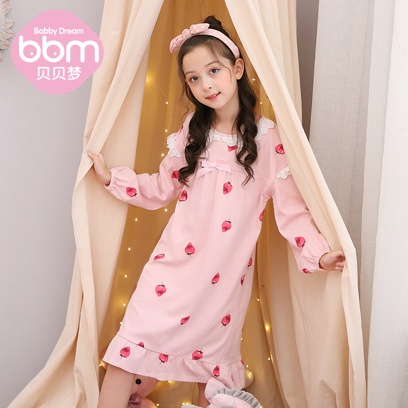 Childrens nightdress spring and autumn long sleeve cotton thin girls skirt little girls home wear parent childs dress mother daughters pajamas