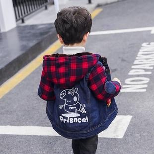 5岁6连帽潮 男童宝宝加绒款 韩版 儿童牛仔外套秋冬2020新款