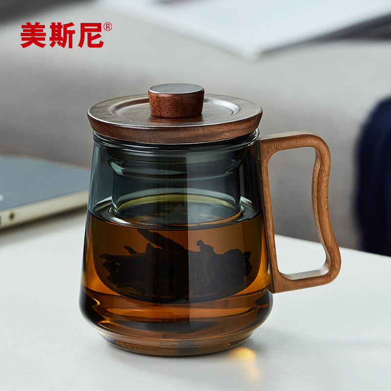 美斯尼玻璃杯日式茶水分离泡茶杯办公室男士水杯子家用简约花茶杯
