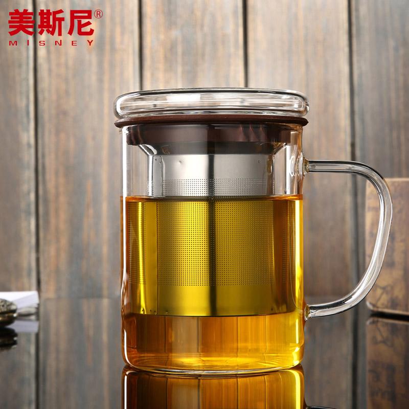 美斯尼 加厚帶蓋過濾耐高溫透明 水杯450ML 辦公室玻璃泡茶杯