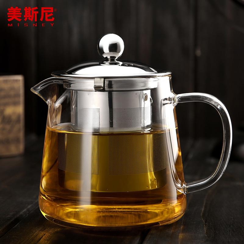美斯尼 玻璃茶壺耐高溫加厚泡茶壺 不鏽鋼過濾 玻璃養生壺花茶壺