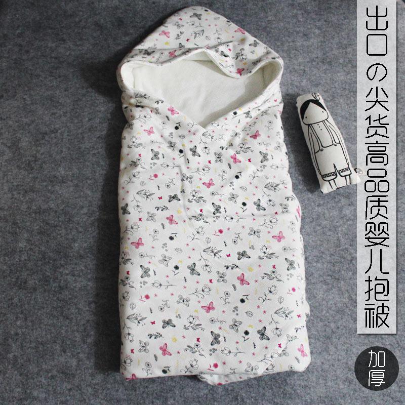 出口婴儿抱被纯棉新生儿包被宝宝用品抱毯秋冬加厚款被子襁褓包巾