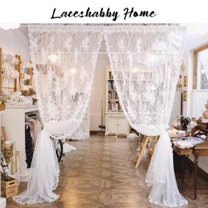 LACESHABBY新款欧式奢华立体绣花珍珠蕾丝百褶白色窗纱窗帘纱帘