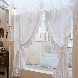 LACESHABBY进口定制法式风格白色百褶棉质布艺窗帘飘窗遮光阳台