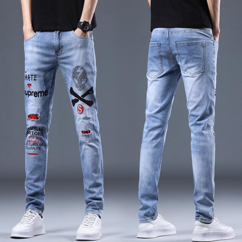 春夏新款潮流时尚破洞补丁印花牛仔裤男弹力修身小脚青年潮牌个性