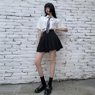 领带衬衫女酷帅气jk衬衫短袖女宽松日系白衬衫女学生学院风盐系夏