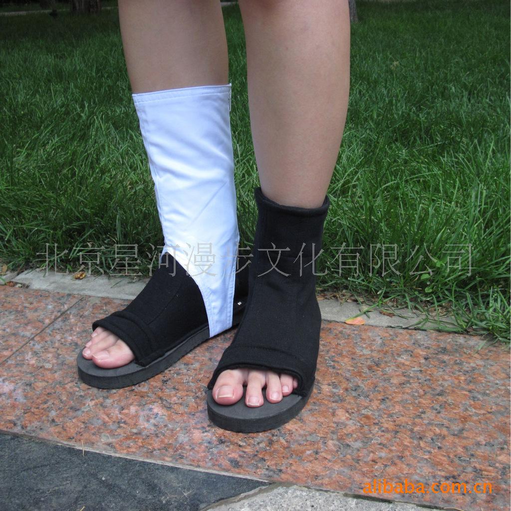 火影忍者cosplay鞋子 佐助晓组织木叶黑白两用鞋 现货