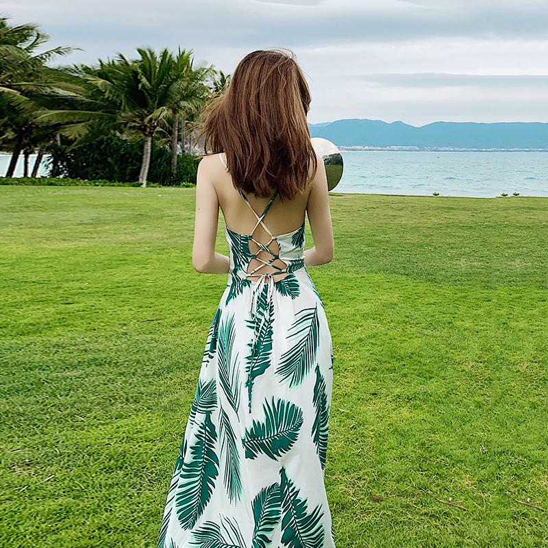 热销9件假一赔三泰国旅游性感露背绑带连衣裙沙滩裙