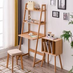 北欧实木小书桌书架组合电脑桌简约现代家用一体桌卧室床边桌学生