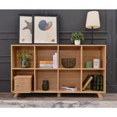 矮书柜北欧原木色木柜书架简约现代客厅木格子架收纳柜子定做带门