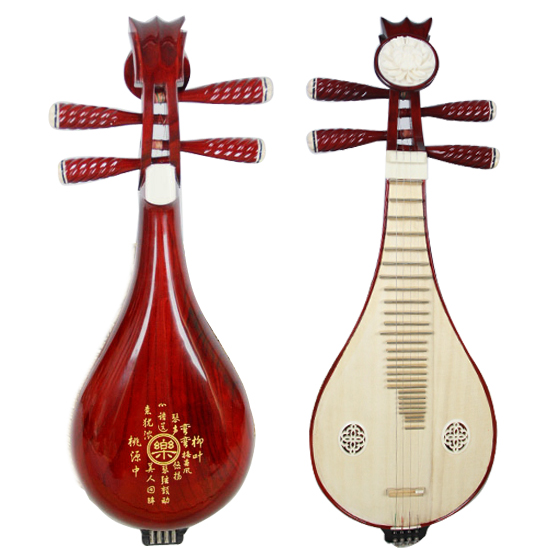Народный музыкальный инструмент Люцинь профессионально играет в Роузвуд Люкин красный Mugu Flower Liuqin Начинающие черты красный Дерево Liuqin