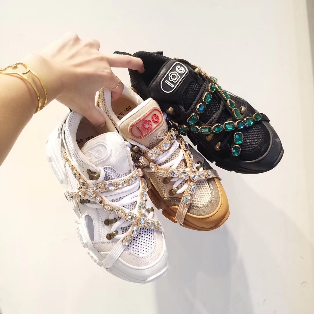 IG女鞋ins超火的鞋子女18新款真皮厚底水钻透气网面运动鞋老爹鞋