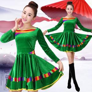 广场舞服装秋冬季新款女装中老年舞蹈服跳舞衣服金丝绒长袖连衣裙