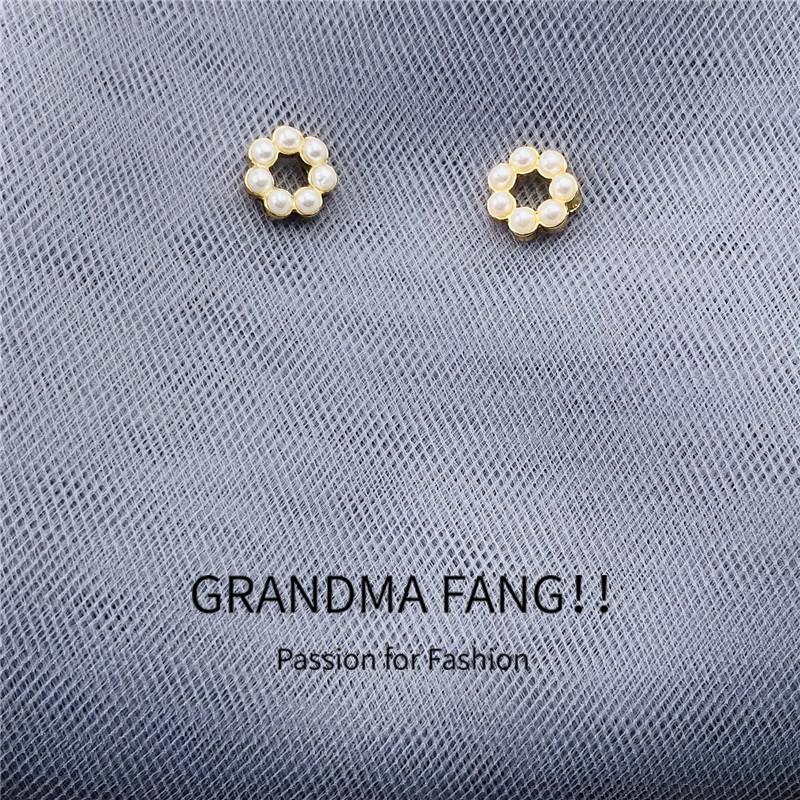 方奶奶S925银针几何圆圈珍珠耳钉韩国温柔可爱气质耳环小巧耳饰女图片