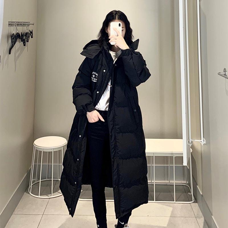 Down cotton jacket extra long autumn winter 2021 new Korean loose BF over the knee bread jacket dongdamen coat female