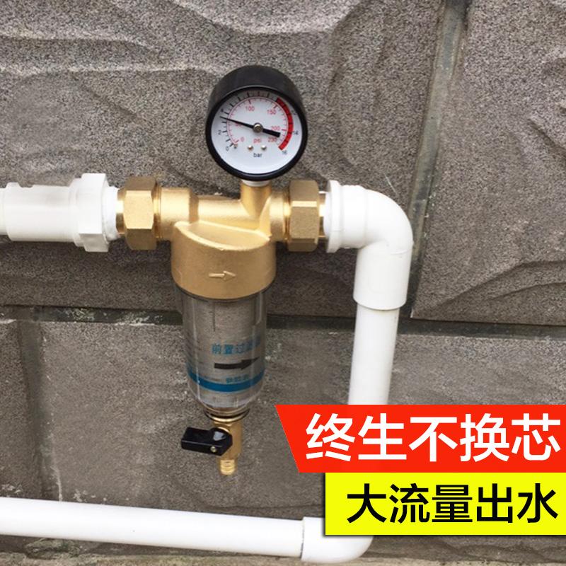 高端纯全铜家用前置过滤器带压力表自来水管道全屋大流量净水器机