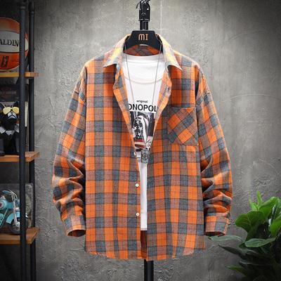 2020 春季新款 日系展架挂拍大码三色格子长袖衬衫 HC20033-P35