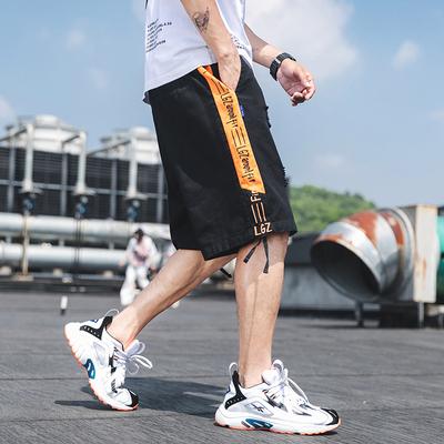 2019 夏季新款 日系外景大码撞色印花破洞短裤M-5X HK172-P45
