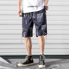 2019 夏季新款 大码日系卷帘门创意印花休闲短裤M-5X HK158-P35
