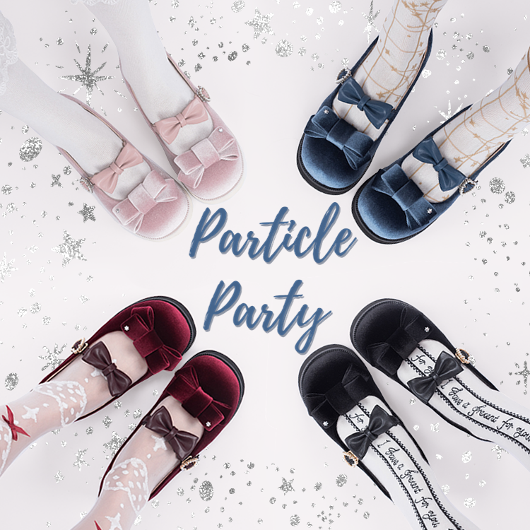 Spot [Particle party] Xiaoyue half suede Lolita shoes original womens shoes thick heel wine red Mary Jean thick sole