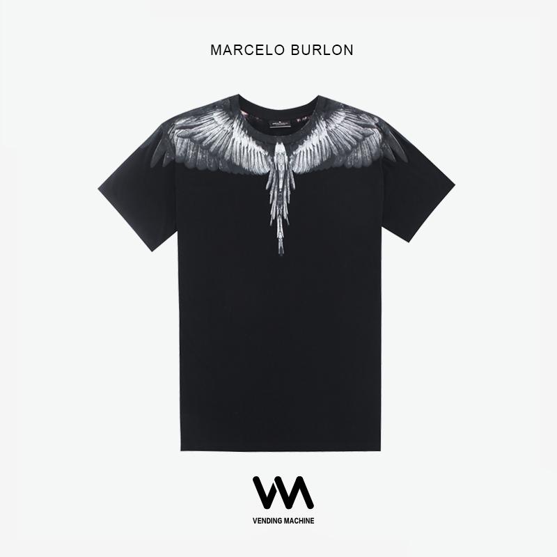 Marcelo Burlon 19ss tee海外正品MB新款烟灰翅膀男女同款短袖T恤