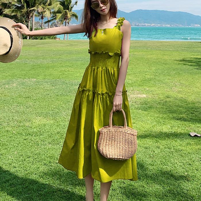 2020夏季新款中长款收腰显瘦绿裙子