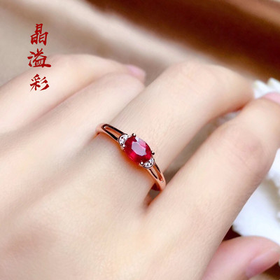 925 sterling silver plated rose gold color inlaid gemstone ring female simple fashion ruby color treasure pigeon blood red