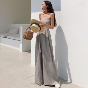 时尚新品女装复古气质高腰显瘦抹胸连体裤宽松休闲纯色阔腿裤长裤