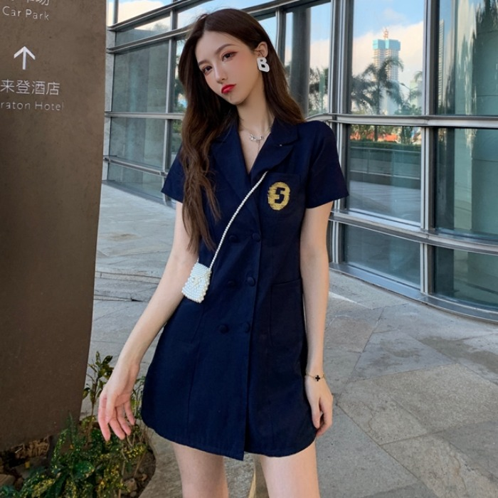夏季新款韩版复古修身中长款双排扣洋气衬衫裙显瘦A字连衣裙女装