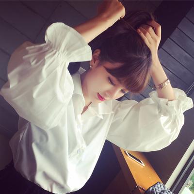Весной новой корейской версии свободные белые рубашки с пузырь Белл рукава модные качества плюс Размер рубашки с длинным рукавом блузки женщин