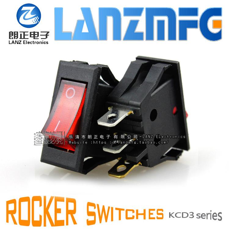 LANZMFG朗正/KCD 3-11 BNサイズ15.8*35 mm船型スイッチ3脚赤信号黄灯スイッチ