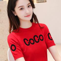 韩版夏季针织短袖女T恤2020新款百搭宽松薄款打底衫半袖上衣春装