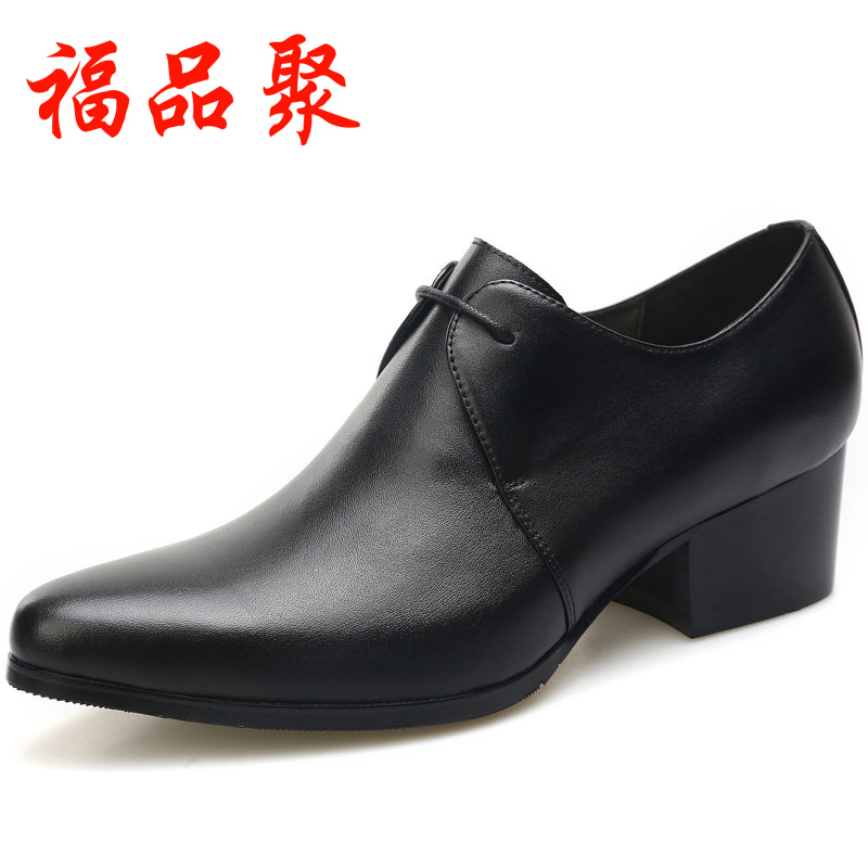 Mens high-heeled shoes Korean pointed hair stylist leather shoes new mens formal wear leather high rise mens shoes trend low top