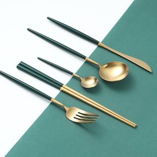304不锈钢刀叉勺北欧ins风网红牛排西餐餐具套装家用叉子勺子筷子品牌