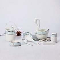 Jingdezhen ceramic spoon eating spoon spoon chopsticks rack ashtray toothpick Barrel household tableware Shadow Yuqing