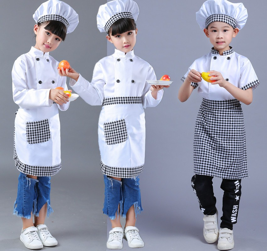 Childrens chef performance clothes boys and girls chef waiter performance clothes childrens activities Cosplay clothing package